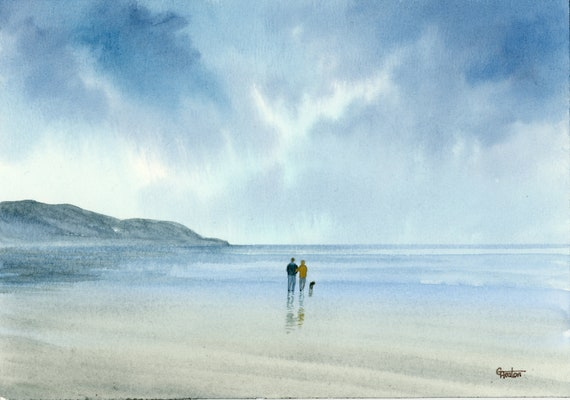Original small watercolour beach painting, Poppit Sands beach, couple and dog in Pembrokeshire Wales, unique gift, stormy blues and greys