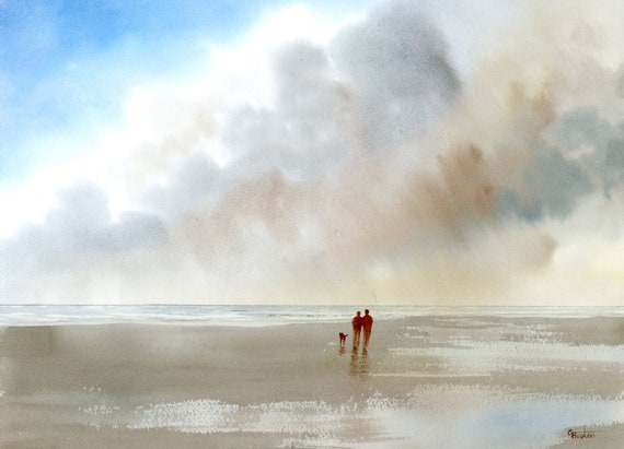 """Original 16"""" x 12"""" watercolour painting,  'Passing Storm'  couple and dog on beach,  watercolor, romantic art gift, 100% cotton paper A3"""