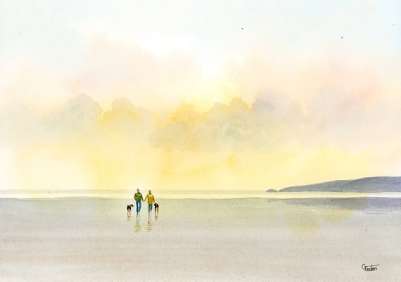 Original watercolour painting, couple and Boxer dogs on beach, A4 size watercolor, original art gift from the artist England UK. Boxers