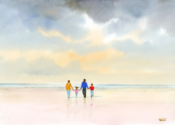 Original watercolour painting, 'Treasured Times' family on beach, A4 size 297mm x 214mm  watercolor unique gift Dad, Mum, Kids, black family