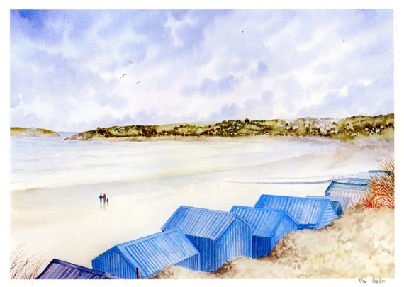 New for 2021 'Beach Huts, Abersoch', Hand finished and personalised very limited edition print on watercolour paper, hand painted art gift