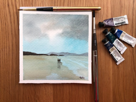 Couple and dog on stormy Anglesey beach. Square small original watercolour painting,  hand painted delicate art watercolor gift,  UK
