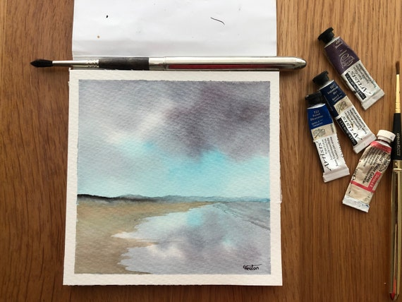Traeth Cymyran, Anglesey. Square small original watercolour stormy beach painting, affordable hand painted delicate art watercolor gift,  UK