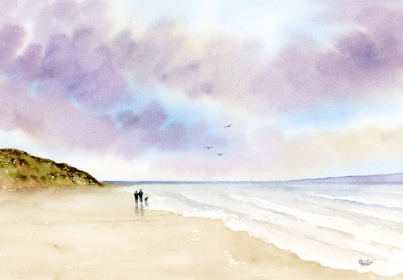 Original watercolour painting, Couple and dog on stormy Wirral beach, A4 size watercolor art direct from the artist in England, UK.