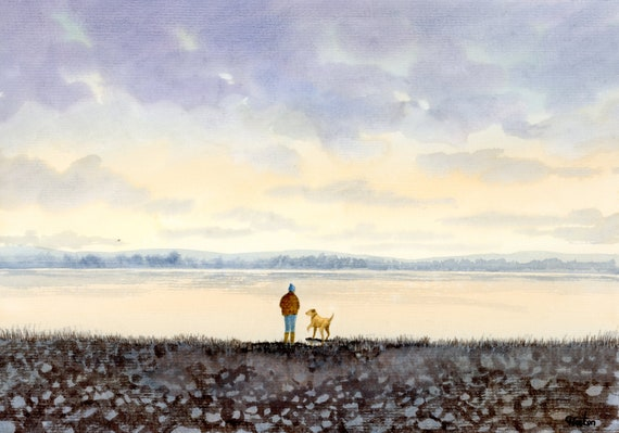 Original watercolour painting, 'Waiting For The Throw', Figure and dog A4 size watercolor, original art gift direct from the artist in UK