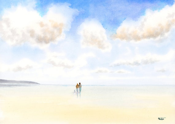 Original watercolour painting, couple and little white dog on beach, A4 size watercolor, original art direct from the artist in England UK,