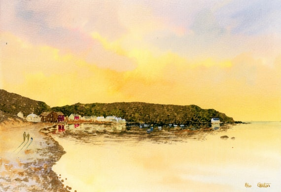 Porthdinllaen Sunset, Hand finished and personalised very limited edition print on watercolour paper, couple and dog on beach, Nefyn Ty Coch