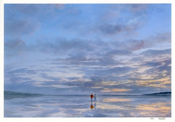 Couple and little dog on beach, A4 very limited edition print on watercolour paper, from an original watercolour painting 'Twilight Walk'