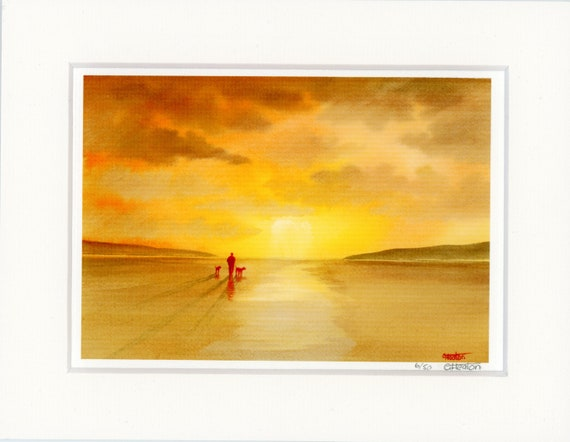 "Mounted 9"" x 7"" Limited Edition Print on watercolour paper, figure and dogs on sunset beach. Only 50 available from an original painting"