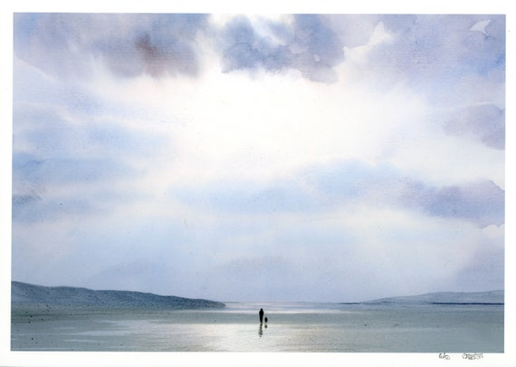 Very limited edition print from an original watercolour painting 'Sunshine On A Rainy Day', figure and dog on beach, only 50 worldwide