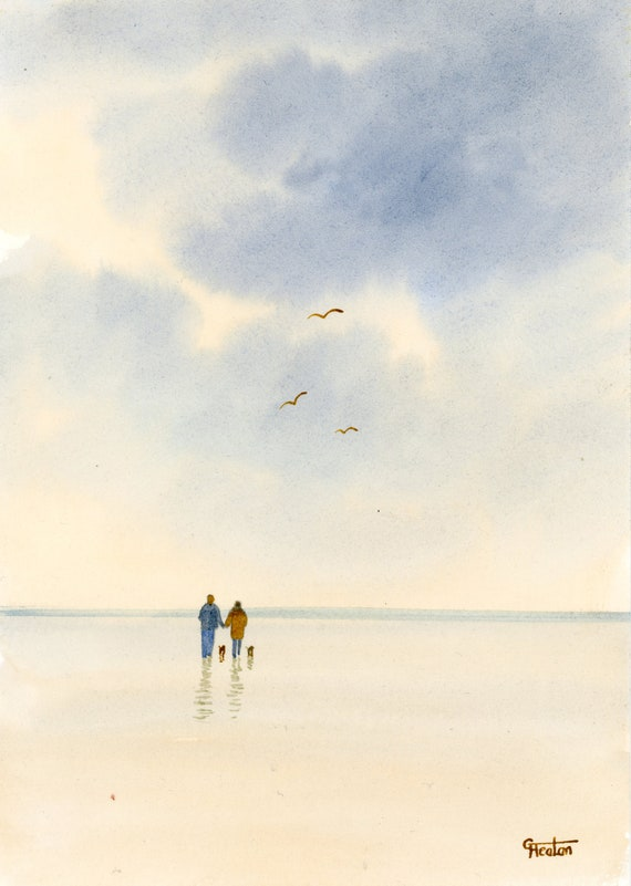 Original small watercolour beach painting, couple and little dogs on beach, hand painted watercolor gift A5 Size, UK artist beach watercolor