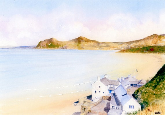 Morfa Nefyn Beach, Hand finished and personalised very limited edition print on watercolour paper, distant figure and dog hand painted
