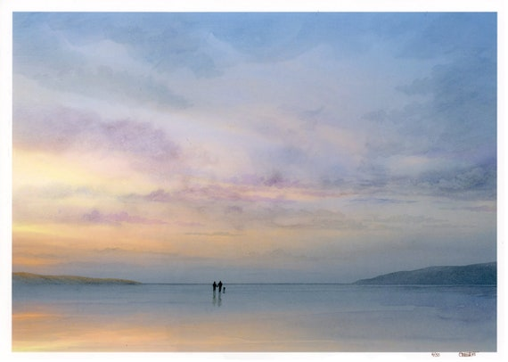 A3 size limited edition print 'At The End Of The Day', couple and dog on beach from an original watercolour painting, direct from UK artist