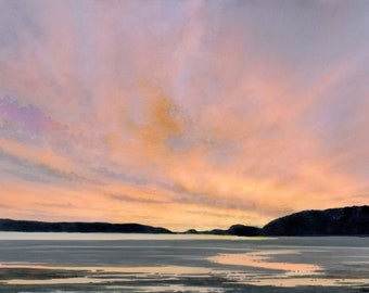 Sunset Beach watercolour painting, Newborough Beach, Anglesey original artwork, A3 size Watercolor art direct from UK artist