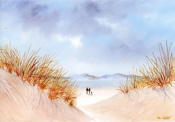 Newborough Beach, 'Through The Sand Dunes' Hand finished, personalised very limited edition print on watercolour paper, couple and dog beach