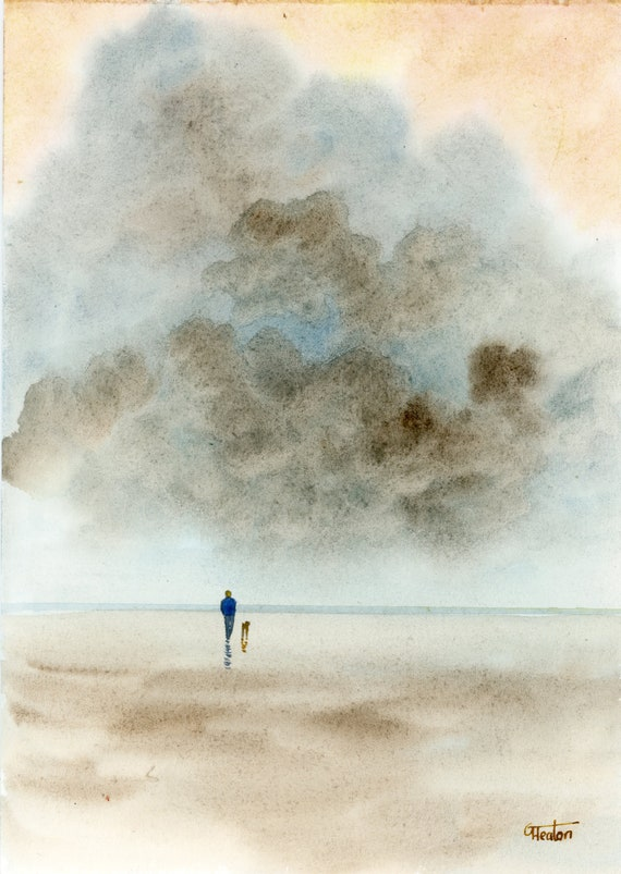 Original watercolour Sketch, figure and dog on beach, hand painted watercolor gift A5 Size, UK artist,  storm painting 'Storm brewing' art