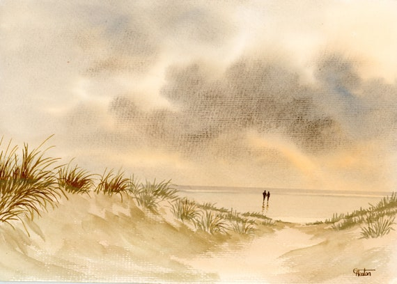 Original watercolour painting, couple on beach, A4 size watercolor, sand dunes original romantic art gift direct from the artist in England