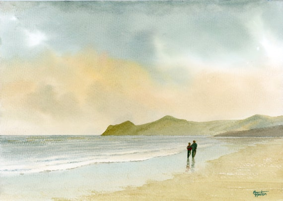Original watercolour painting, Nefyn Morning,  couple on beach, A4 size watercolor, art gift, Morfa Nefyn Wales, engagement or wedding gift