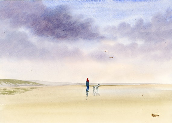 Original watercolour painting, Dalmation dog on stormy beach A4 size watercolor, original art gift direct from the artist in England UK