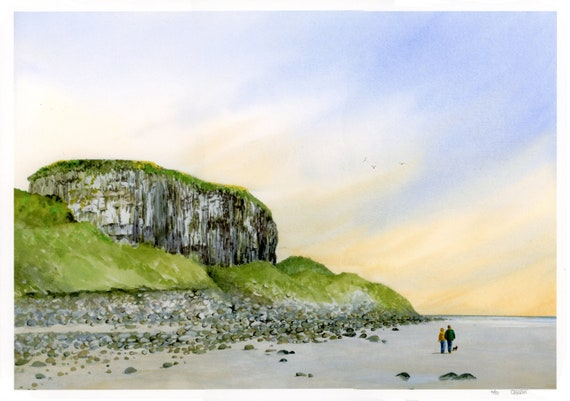 A3 size Castell Mawr Rock, Red Wharf Bay, Anglesey, hand finished very limited edition print,  hand painted couple and little dog on beach