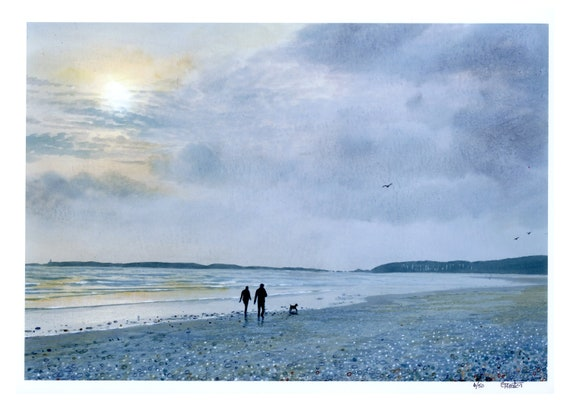 A4 size limited edition print 'Late Afternoon Walk', couple and dog on beach from an original watercolour painting, direct from UK artist