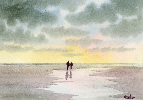 Original small watercolour beach painting,  original romantic art, couple on sunset beach,  affordable hand painted watercolor gift A5 Size
