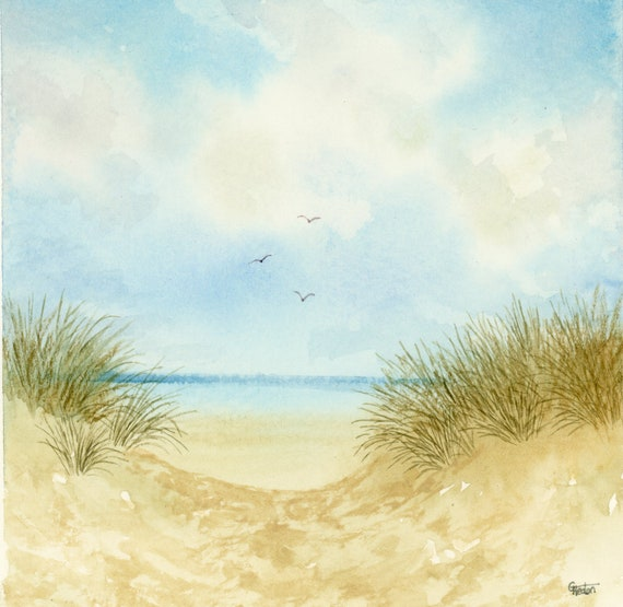 Small original square watercolour painting, Formby beach. Peaceful sand dunes, watercolor art gift direct from the artist, England