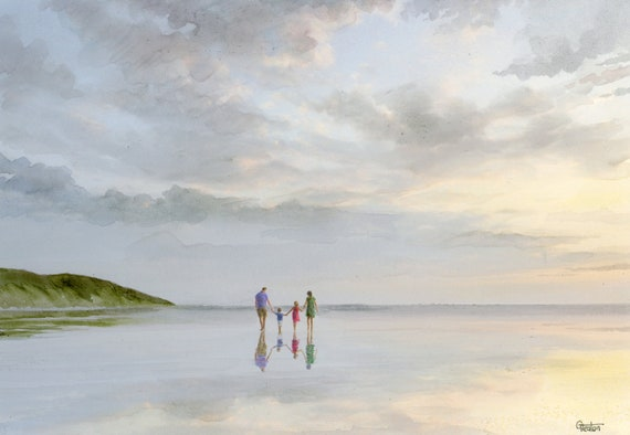Original watercolour painting, family walking on sunset beach, A4 size watercolor, original art direct from the artist in UK, Father's Day