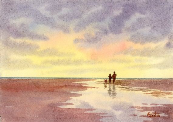 Original small watercolour beach painting,  original romantic art, couple and dog on sunset beach,  hand painted watercolor gift A5 Size