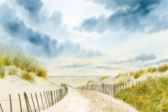 """Original large 22"""" x 15"""" watercolour painting of Formby Beach,  hand painted on 100% cotton watercolor paper, art direct from artist in UK"""