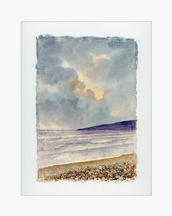 "Original 12"" x 10"" mounted deckled edged watercolour Pembrokeshire beach painting on handmade paper. Freshwater West Beach, Art gift from UK"