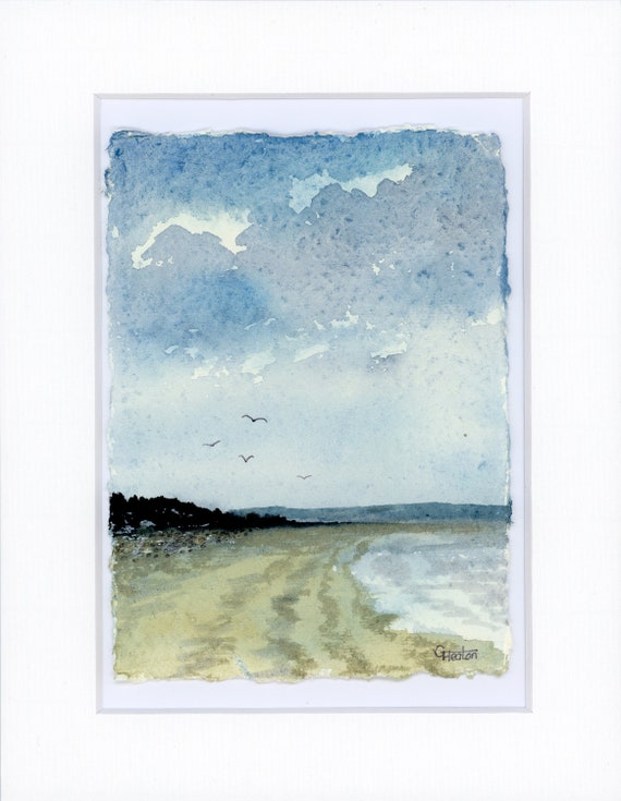 """Original mounted deckled edged watercolour beach painting on handmade paper, Llanddona beach, Anglesey, Ynys Mon, mounted for 10"""" x 8"""""""