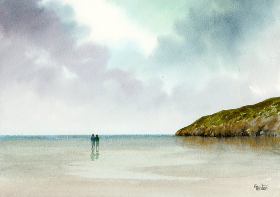Original small watercolour beach painting,  original romantic art, couple on beach in Wales, unique gift for Valentine's Day or anniversary