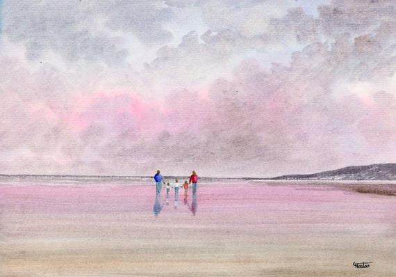 Original watercolour painting, 'Hand In Hand' couple and 3 children on beach, A4 size 297mm x 214mm  watercolor unique gift Dad, Mum, Kids