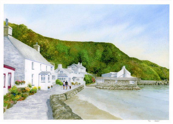 Larger A3 size 'Porthdinllaen Sunshine', hand finished very limited edition print from a watercolour painting,  hand painted couple and dog