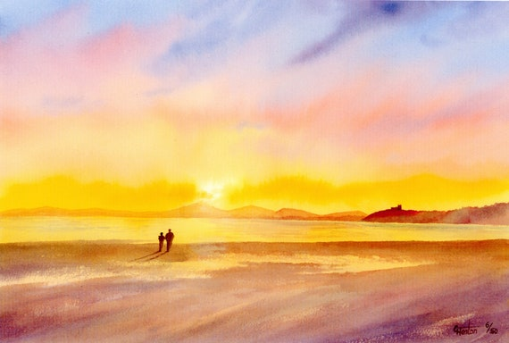Black Rock Sands Beach, Hand finished and hand painted couple on very limited edition print 'Sunset Over Criccieth' art on watercolour paper