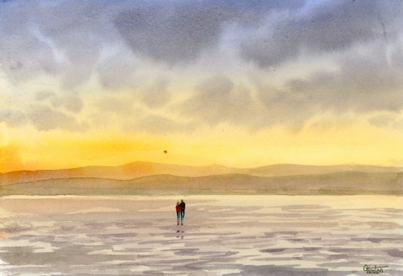 Original small A5 watercolour beach painting, West Kirby beach, couple at sunset on The Wirral,  watercolor art gift direct from the artist