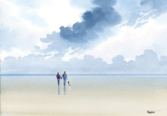 Original small watercolour beach painting,  couple and Beagle dog on stormy beach.  Original watercolor art, Wedding or anniversary gift