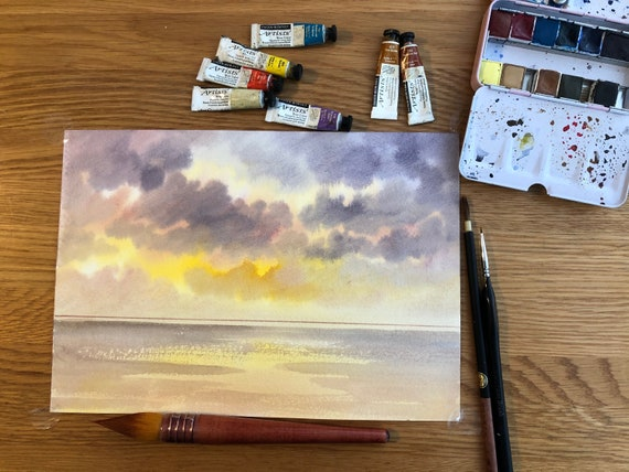 Ready to finish original A4 size watercolour painting, personalised for a bespoke finish, sunset beach, figures to be added, unique art gift