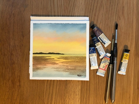 Rhosneiger, Anglesey original small square watercolour sunset beach painting, Wales.  Affordable hand painted delicate watercolor gift,  UK