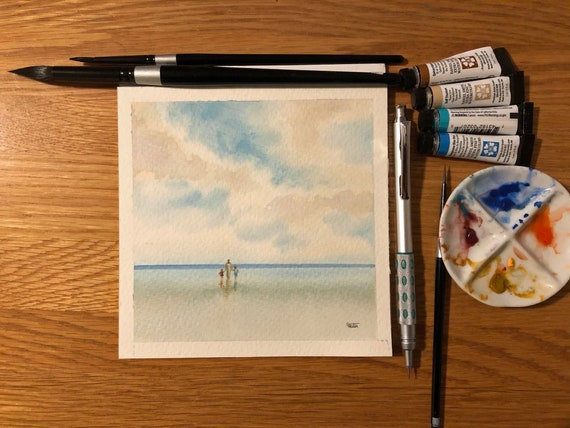 Square small original watercolour painting, Mother and children on beach.  Lovely, unique Mother's Day gift direct from the artist in UK