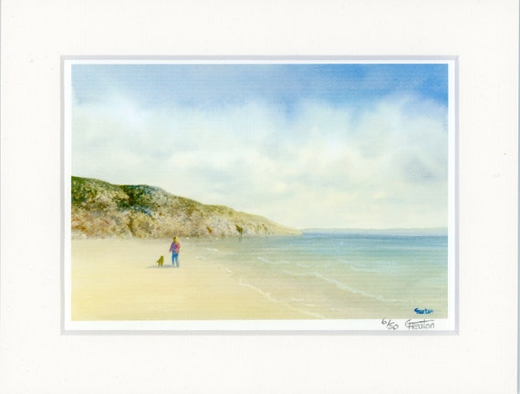 "Mounted 9"" x 7"" Limited Edition Print on watercolour paper, figure and dog on Barafundle beach Pembrokeshire Wales from an original painting"