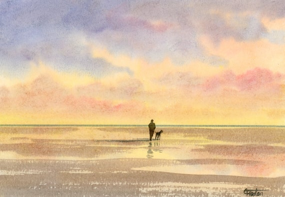 Original small watercolour beach painting, 'Tranquility'  original art figure and dog on sunset beach,  hand painted watercolor gift A5 Size