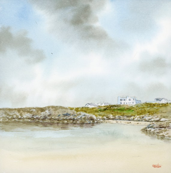 """Original 8"""" x 8"""" watercolour painting Porth Diana Trearddur Bay, Anglesey.  Watercolor art direct from the artist. 20 x 20cm square"""