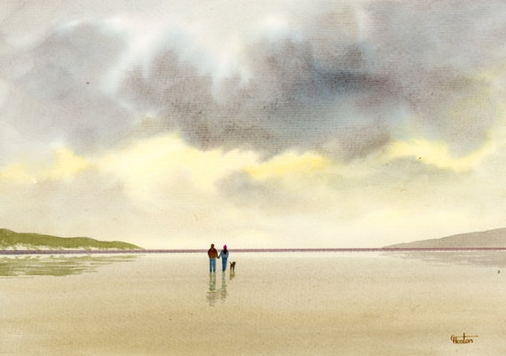 Original watercolour painting, 'September Skies' couple and dog on beach, A4 size watercolor, original art gift from the artist England UK.