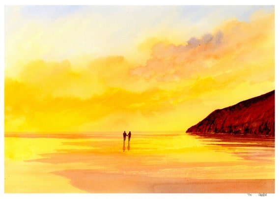New for 2021 hand painted couple on sunset beach, hand finished very limited edition print on watercolour paper, Pendine Sunset, Wales  art