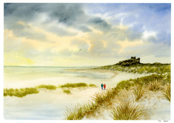 Bamburgh Castle, Hand finished and personalised very limited edition print on watercolour paper, couple on beach unique art gift