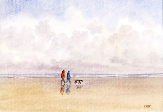 Original watercolour painting, figures and Border Collie dog on beach, A4 size watercolor, original art gift from the artist in England UK,