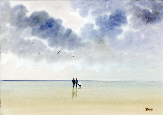 Original watercolour painting, couple and dog on stormy beach A4 size watercolor, original art gift direct from the artist in England UK