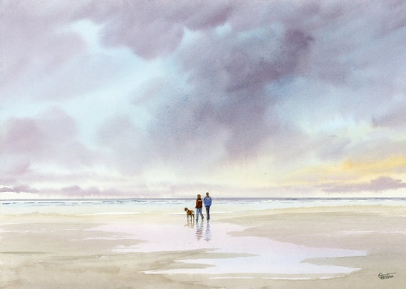Original watercolour painting, Couple and Boxer dog on stormy beach, A4 size watercolor art direct from the artist in England, UK.